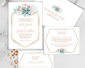 Wedding Invitations, Wedding Invitation, Wedding Invites, Save the Date Cards, Save the Date Floral, Personalized, Blush, Copper Succulent