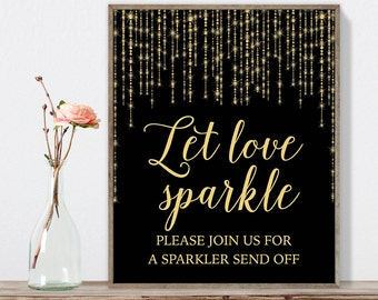 Let Love Sparkle Sign DIY / Gold Wedding Sign / Great Gatsby, Bokeh String Light / Black and Gold Calligraphy ▷ Instant Download JPEG