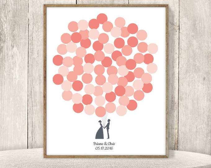 Wedding Guest Book Alternative Sign / Guest Sign In Poster / Pink and Coral Balloons, Newlywed Couple ▷Printable File {or} Printed & Shipped