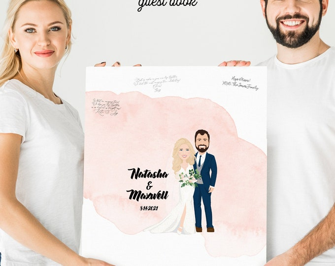 """Featured listing image: Watercolor Guest Book Alternative > Custom, Personalized Wedding Portrait of Newlywed Couple with """"Watercolor Train"""" Dress"""