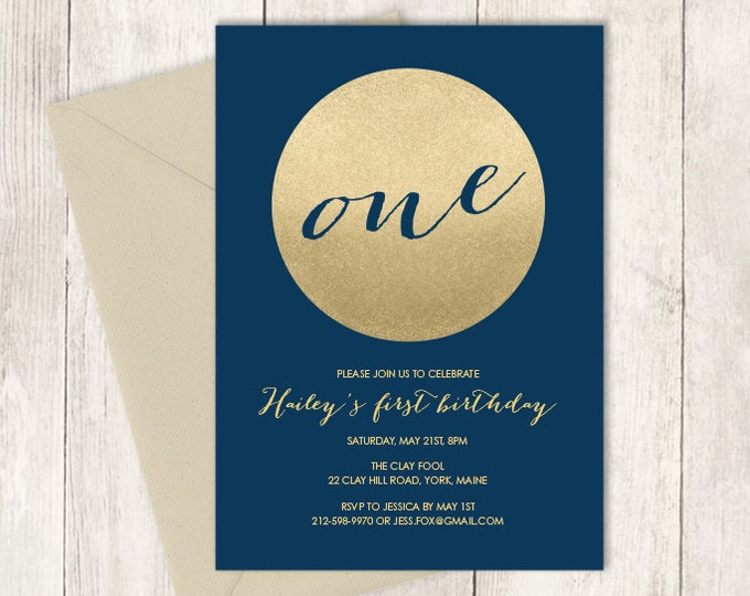 Gold Birthday Invitation DIY / Gold Sparkle Glitter Birthday Invite / Metallic Gold and Navy / First Birthday ▷ Printable Birthday Invite