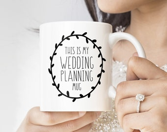 "This is My Wedding Planning Mug, ""This Might Be Wine"" Funny Engagement Gift Coffee Mug, Gift for Her, Minimalist Black & White Farmhouse Mug"