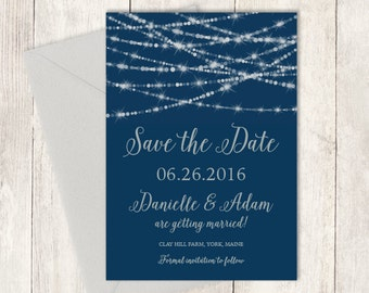 Elegant Save The Date / Festive Bokeh String Light Sparkle / Navy and Silver Calligraphy ▷ Printed Wedding Invitations {or} Printable