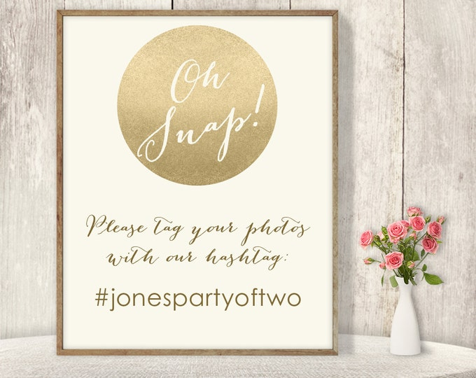 Wedding Hashtag Sign / Instagram Sign / Gold Sparkle Glitter Metallic Champagne Gold and Cream ▷ Printable File {or} Printed & Shipped