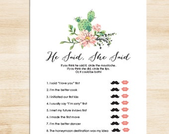 Floral Bridal Shower Game DIY // Pink Flower, Cactus, Fiesta // He Said, She Said Printable PDF // Wedding Shower Game ▷ Instant Download