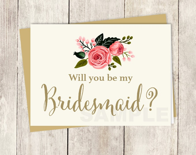 Be My Bridesmaid // Will You? // Wedding Card DIY // Watercolor Rose Flower // Gold Calligraphy, Rose // Printable PDF ▷ Instant Download