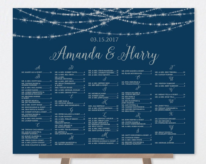Alphabetical Seating Chart Sign / Festive Bokeh String Light / Navy and Silver / Custom Seating Sign ▷ Printable File {or} Printed & Shipped