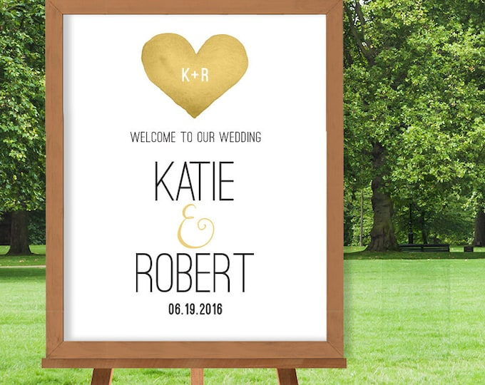 Wedding Welcome Sign / Gold Whimsical Watercolor Heart / Welcome To Our Wedding / Custom Sign ▷ Printable File {or} Printed & Shipped