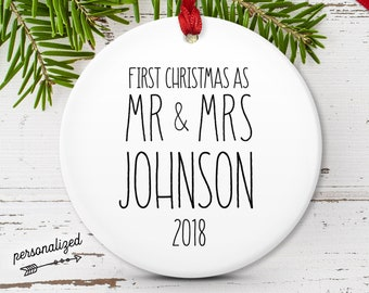 Our First Christmas as Mr and Mrs, Rustic Minimalist Ornament, Modern Farmhouse Decor, Couple Wedding Gift Idea, Black and White