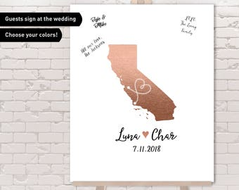 California Guest Book Alternative / Wedding Map / Faux Metallic Rose Gold Map Guestbook / Guest Sign In ▷ Canvas, Paper, Board or Printable