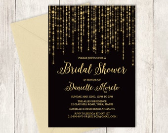 Elegant Bridal Shower Invitation / Great Gatsby Bokeh String Light / Black and Gold Calligraphy  ▷ Printed Heavy Paper {or} Printable