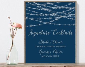Elegant Signature Cocktail Sign / Bar Sign / Festive Bokeh String Light Sparkle / Navy and Silver ▷ Printable File {or} Printed & Shipped