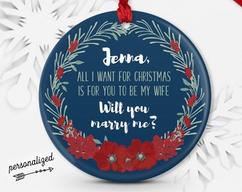 Unique Proposal Ornament, Christmas Proposal Idea, Personalized Will You Marry Me? Ornament, Girlfriend Gift Idea, Red and Navy Blue