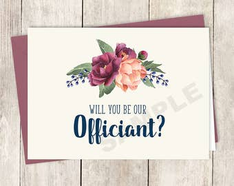 Will You Be Our Officiant Card DIY Printable / Burgundy Peony Berry Bouquet, Peach Blush Pink Ranunculus, Fall ▷ Instant Download PDF