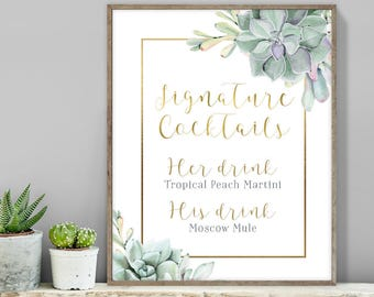 Succulent Signature Cocktail Sign / Bar Sign / Greenery and Gold Geometric / Green Cactus and Gold ▷ Printable File {or} Printed & Shipped