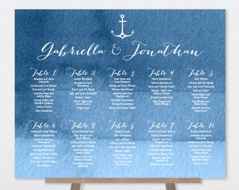 Nautical Seating Chart Sign / Heart Anchor / Elegant Calligraphy on Navy Blue Ombre Watercolor Sign ▷ Printable File {or} Printed & Shipped