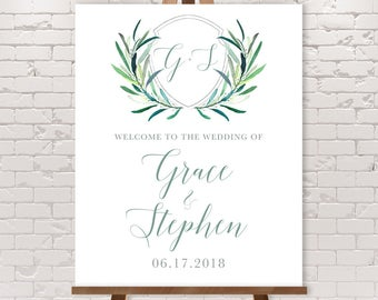 Greenery Wedding Welcome Sign / Eucalyptus Crest / Initial Monogram Crest, Eucalyptus Leaves, Olive ▷ Printable File {or} Printed & Shipped