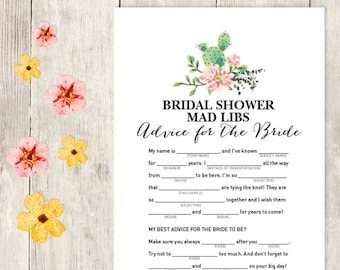 Floral Bridal Shower Game DIY / Pink Flower, Cactus, Fiesta / Mad Libs Printable / Advice for the Bride / Wedding Shower ▷ Instant Download