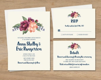 Burgundy Wedding Invitation Set / Peony Berry Bouquet, Peach Blush Pink Ranunculus / Invite Set ▷ Printed Wedding Invitations {or} Printable
