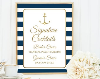 Nautical Signature Cocktail Sign / Nautical Stripes / Navy Stripes, Gold Anchor / Navy and Gold ▷ Printable File {or} Printed & Shipped