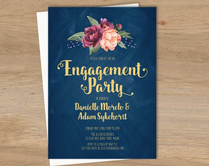 Marsala Engagement Party Invitation / Peonies, Berries, Navy Chalkboard, Blush Ranunculus, Gold ▷ Printed Wedding Invitations {or} Printable