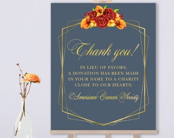 Fall Thank You Sign / In Lieu Charity Donation / Red Rose Flower, Orange Calla Lilly, Gold Geometric ▷ Printed Paper, Canvas {or} Printable