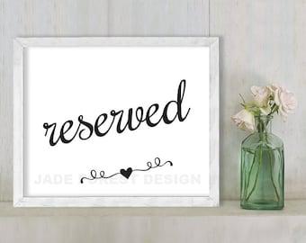 Reserved // Wedding Sign DIY // Elegant Calligraphy Printable Poster PDF // Classic Elegance ▷ Instant Download