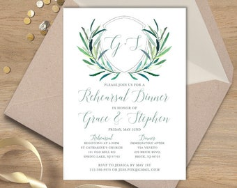 Greenery Dinner Invitation / Rehearsal Dinner / Eucalyptus Crest / Initial Monogram Crest, Olive ▷Printed Wedding Invitations {or} Printable
