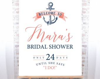 Nautical Bridal Shower Sign, Coral Navy Blue Bridal Shower Welcome Canvas Print, Beach Wedding > PRINTED Sign for Wedding Shower Countdown