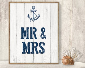 Mr and Mrs, Newlywed Sign // Wedding Reception Sign DIY // Nautical Sign, Navy Anchor Printable PDF // Nautical Planks ▷ Instant Download