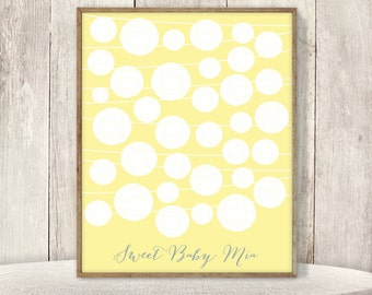 Cute Baby Shower Guest Book Alternative / Sorbet Yellow Lanterns / Unisex Shower, Baby Sign▷ Printable File {or} Printed & Shipped