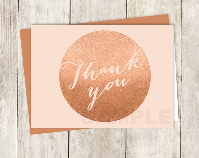 Rose Gold Thank You Card DIY / Faux Metallic Rose Gold and Coral Pink, Calligraphy / Wedding Thank You Printable PDF ▷ Instant Download