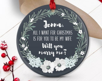 Proposal Ornament Personalized, Christmas Engagement, Unique Proposal Idea, Will You Marry Me? Ornament, Future Fiancée Gift Idea