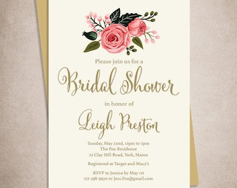 Floral Bridal Shower Invitation DIY / Watercolor Rose Flower / Gold Calligraphy, Pink Rose, Cream ▷ Personalized and emailed printable file
