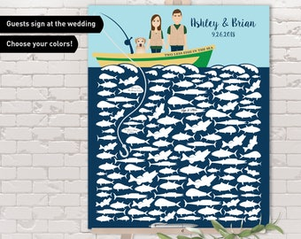 Fishing Guest Book Alternative / Nautical Wedding Guestbook, Ocean Fishing / Custom Couple Portrait on a Fishing Boat, Personalized Gift