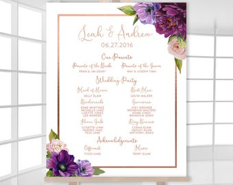 Purple Wedding Welcome / Bridal Party /  Purple Flowers, Anemone, Peony, Rose Gold / Fall Wedding ▷ Printed Paper, Canvas {or} Printable