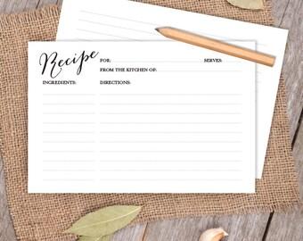 DIY Calligraphy Card // Elegant Calligraphy 4x6 Recipe Card DIY // Bridal Shower Card, Kitchen Shower Printable PDF ▷ Instant Download