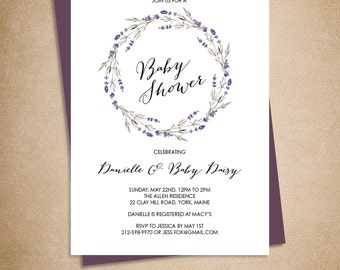 Floral Baby Shower Invitation DIY // Rustic Lavender Wreath Flowers // Printable PDF ▷ Baby Shower Invite Printable