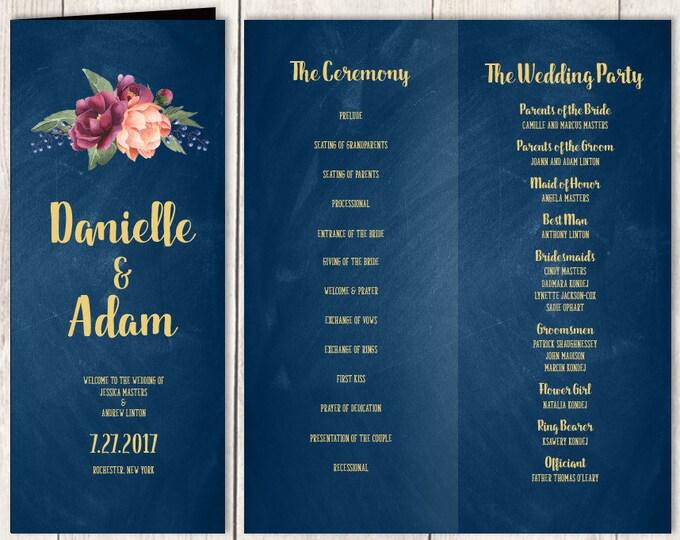 Marsala Folding Wedding Program DIY / Peonies, Berries, Navy Chalkboard, Blush Ranunculus, Gold and Navy, Ceremony Program ▷Printable PDF