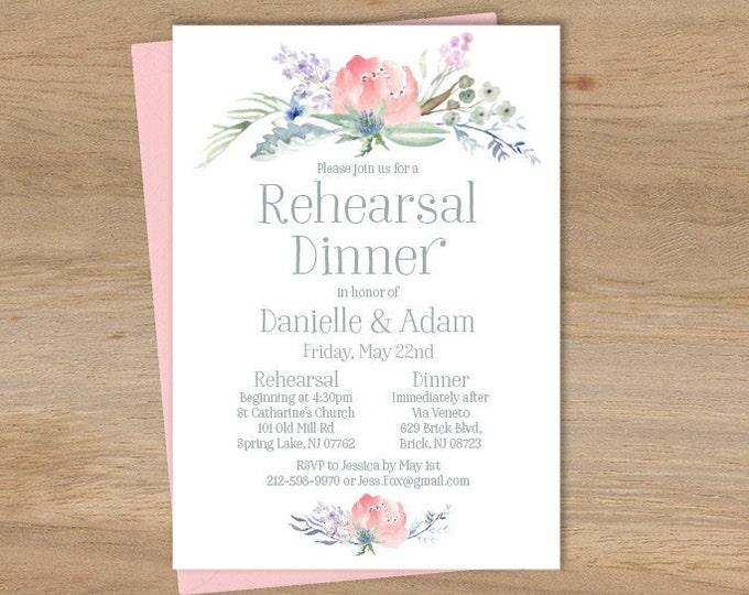 Boho Dinner Invitation / Rehearsal Dinner / Blush Flowers, Boho Flowers, Bohemian Greenery ▷ Printed Wedding Invitations {or} Printable