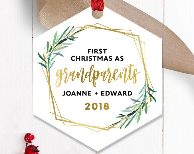 New Grandparents Ornament, Modern Greenery Christmas Decor, New Grandparent Gift from Grandchild Keepsake, Gender Neutral, Green and Gold