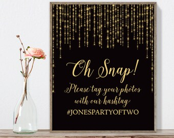 Elegant Wedding Hashtag Sign / Instagram Sign / Great Gatsby Bokeh String Light / Black and Gold ▷ Printable File {or} Printed & Shipped