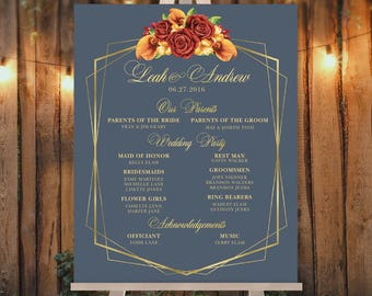 Fall Wedding Welcome / Bridal Party / Red Rose Flower, Orange Calla Lilly, Floral Sign Gold Geometric ▷ Printed Paper, Canvas {or} Printable