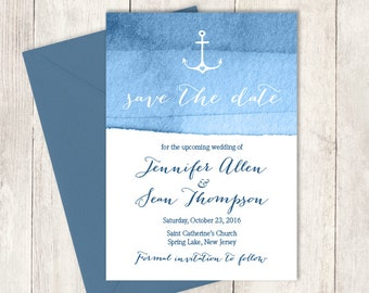 Nautical Save The Date / Heart Anchor / Elegant Calligraphy on Navy Blue Ombre Watercolor ▷ Printed Wedding Invitations {or} Printable