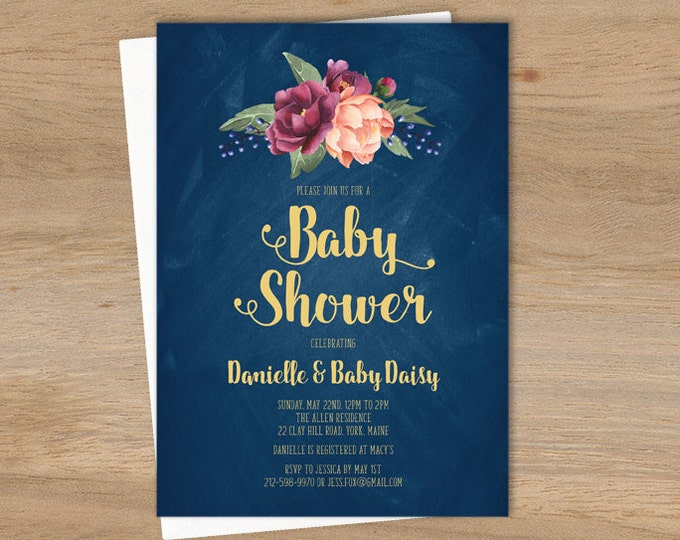 Marsala Baby Shower Invitation / Peonies, Berries, Navy Chalkboard, Blush Ranunculus, Gold and Navy ▷ Printable File {or} Printed & Shipped