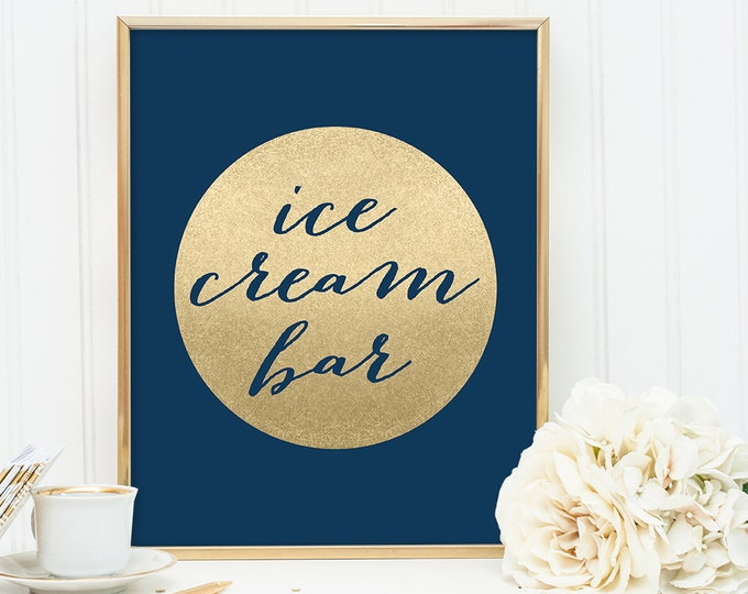 Ice Cream Bar Sign DIY / Dessert Sign / Navy and Gold Wedding Sign / Metallic Gold Sparkle Circle / Champagne Gold ▷ Instant Download JPEG