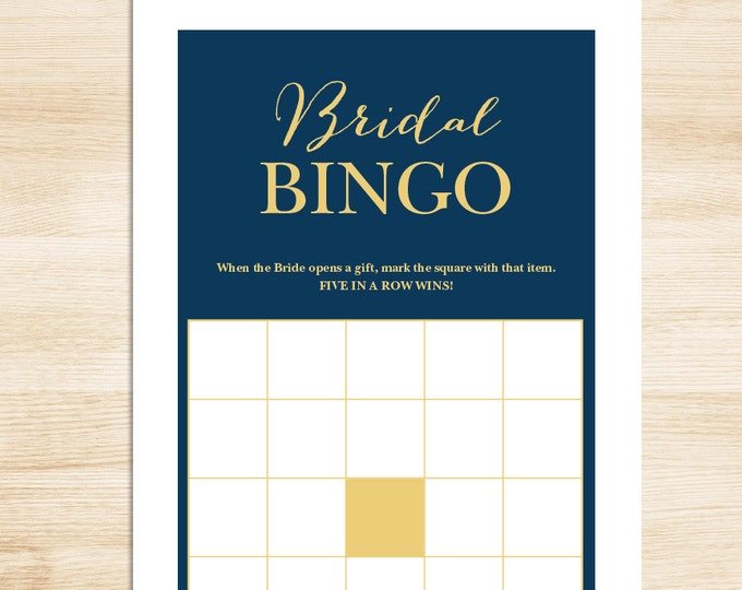 Bridal Shower Bingo Game DIY // Gold Calligraphy on Navy Background // Bridal Bingo Printable PDF // Wedding Shower Game ▷ Instant Download