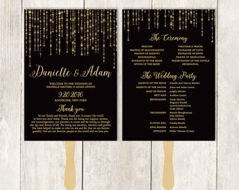 Elegant Wedding Program Fan DIY / Great Gatsby Bokeh String Light / Black and Gold Schedule ▷ Printable {or} Printed *** ASSEMBLY REQUIRED