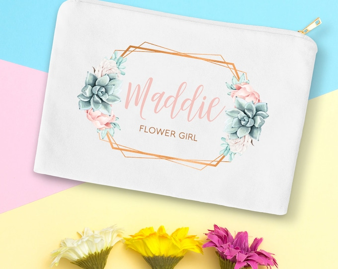 Flower Girl Bag, Custom Flower Girls Gift Idea under 25, Personalized Makeup Bag, Canvas Cosmetic Bag, Copper Succulent Bag