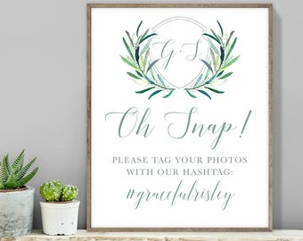 Greenery Hashtag Sign / Instagram Sign / Eucalyptus Crest / Initial Monogram Crest, Eucalyptus Leaves ▷Printable File {or} Printed & Shipped